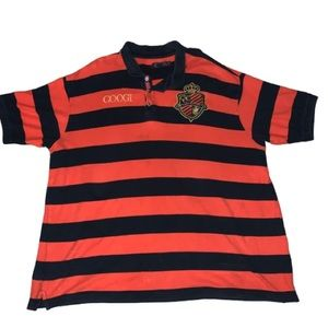 Coogi Rugby Striped Polo 4X Logo Embroidered